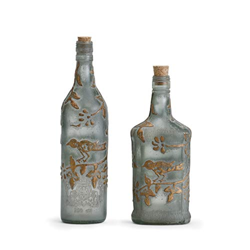 DEMDACO Bird and Vine Rustic Brass On Gray 12 x 4 Glass and Cork Vases Set of 2