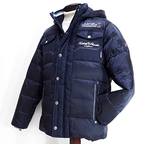 40491 秋冬 ダウンコート ハーフコート フード取り外し可 ネイビー(紺) サイズ 52(3L) CAPRI カプリ 紳士服 メンズ 男性用