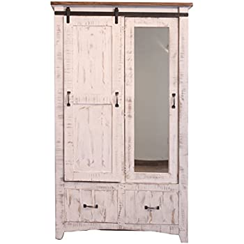 Beau Distressed White Anton Sturdy Solid Wood Sliding Barn Door Bedoom Armoire  With Hanging Storage And Functional