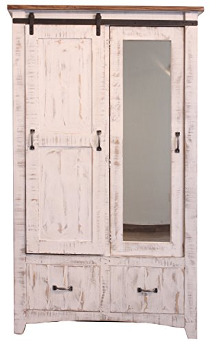 Distressed White Anton Sturdy Solid Wood Sliding Barn Door Bedoom Armoire With Hanging Storage and Functional Drawer Storage. Now With Full Length Mirror. by R&R