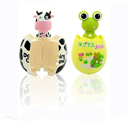 EBRICKON Toothbrush Holder Set for Kids Animals Egg Shape with Suction Cup 2 Pack (White and Black Cow and Green Frog) by EBRICKON