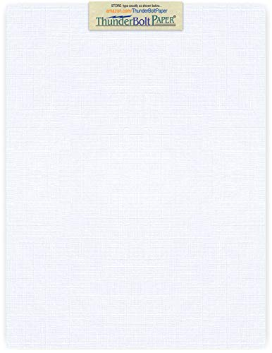 - 50 Bright White Linen 80# Cover Paper Sheets - 8.5