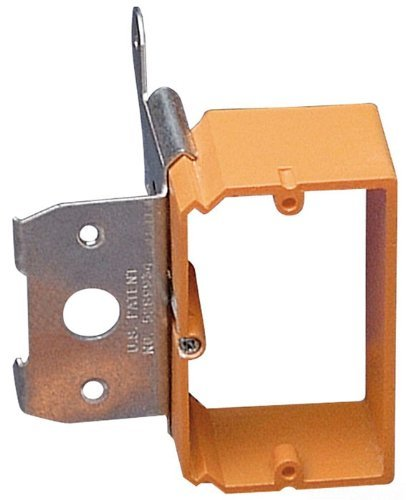 Carlon SC100ADJC Outlet Box Low Voltage Bracket, Adjustable, Backless, 1 Gang, 3-3/4-Inch Length by 3-7/8-Inch Width, Orange, by Thomas & Betts