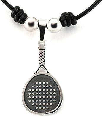 Silver & Steel Colgante Pádel cordón y bolas de plata - Cuero ...