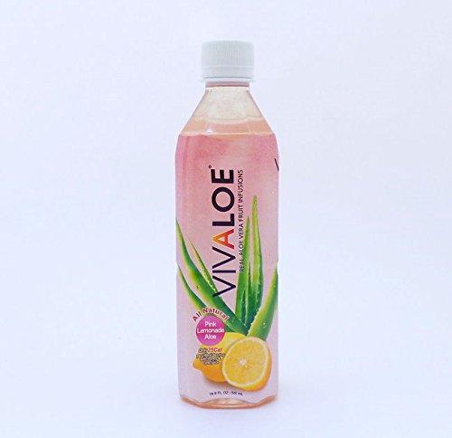 Vivaloe Pink Lemonade Flavor Aloe Beverage - 16.9 Fl. Oz - Pack of 12 - All Natural Aloe Juice.
