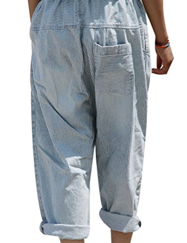 Gamba Strisce Donna Blu Larga Pantaloni A Vita Jeans Elastica Youlee qPSnWUHq