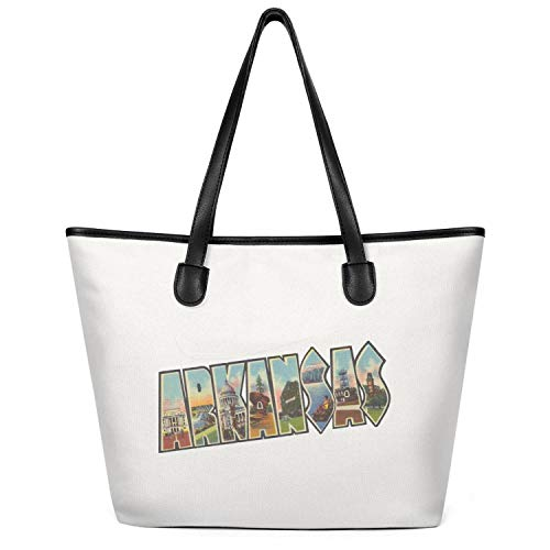 Women's Greetings-from-Arkansas- Canvas Handbags Large Capacity Tote Foldable Zippered Tote Creamy-White ()