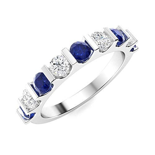 Diamondere Natural and Certified Blue Sapphire and Diamond Wedding Ring in 14K White Gold | 1.11 Carat Half Eternity Stackable Band for Women, US Size 6