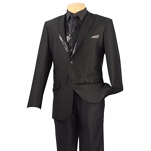 Spotlight Collection - Classic Fit Tuxedo With Vest Sequins - If Outlets Fashion Chicago