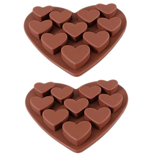 Wulofs Food grade Silicone 2Pcs Love Heart Shaped Fondant Mold Cake Decorating Chocolate Baking Mould Tool Ice Cube Tray Muffin Sugar Craft Fondant Mold