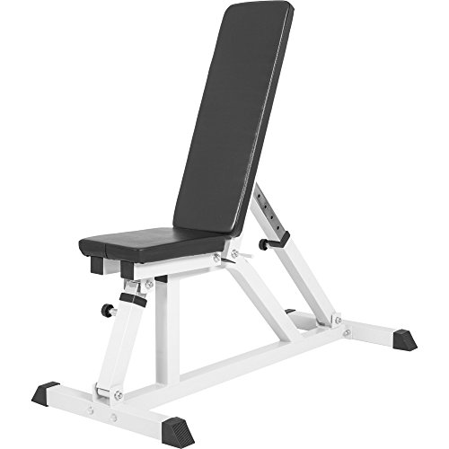 GORILLA SPORTS Multi Function Bench with Adjustable Backrest - Home Gym Weight Bench White Rated 265 lbs (Best Rated Home Weight Bench)