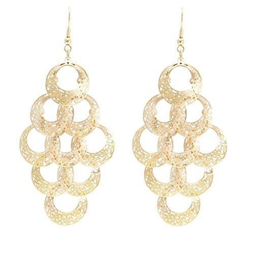 Sacral Shape (Boho Filigree Sacral Chakra Motif Rhombus Shape Chandelier Tiered Dangle Statement Earrings)