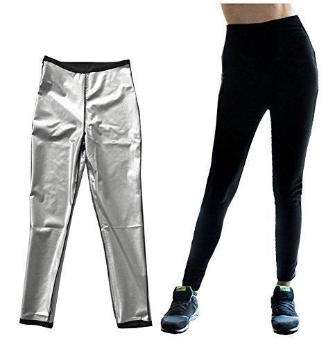 Beakas Hot Sweat Slimming Capris Pants Leggings, Anti-Cellulite Weight Loss (Black, L=US Size M)