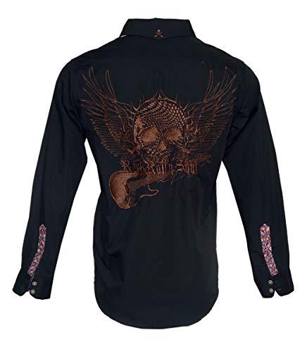 Rock Roll-n-Soul Men's Long Sleeve Flying Skull Guitar Button Down Shirt Black 706b (XL) -