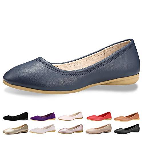 CINAK Women Flats Shoes - Slip-on Ballet Comfort Walking Shoes for Women (5-5.5 B(M) US/ CN37 / 9.2'', Blue)