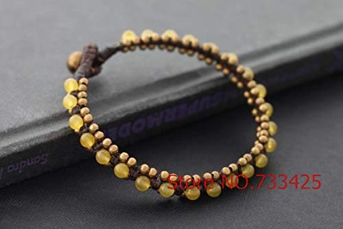 (Gabcus Handmade Woven Yellow Beaded Bracelet Cuff with Wax Cord and Thai Style Brass Bell Closure Bracelet for Women)
