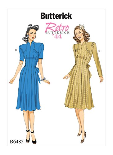 Shirred Dress Pattern (Butterick B6485 E5 Misses' Retro Dresses with Shoulder and Bust Detail, Waist Tie, and Sleeve Variations, Size 14-22 6485)