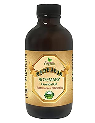 ROSEMARY ESSENTIAL OIL 4 OZ Organic Therapeutic Grade A Wellness Relaxation 100% Pure Undiluted Steam Distilled Natural Aroma Premium Quality Aromatherapy diffuser Skin Hair Body Massage