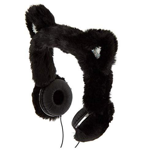 Claire's Girl's Black Cat Faux Fur Headphones