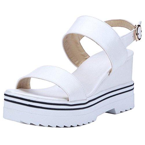 Wedge Ankle Heel TAOFFEN Women White Sandals Shoes Strap qA7WwOB