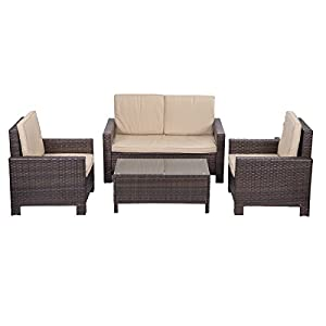 Outdoor Patio Sofa Set Sectional Furniture PE Wicker Rattan Deck Couch Part 51