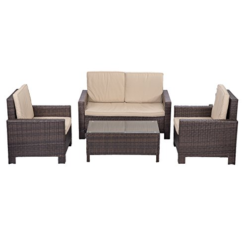 Outdoor Patio Sofa Set Sectional Furniture PE Wicker Rattan Deck Couch (Wicker Sectional Patio Furniture Sets)