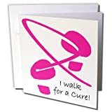 3dRose Breast Cancer Awareness Footprints I - Greeting Cards, 6 x 6 inches, set of 6 (gc_5901_1)