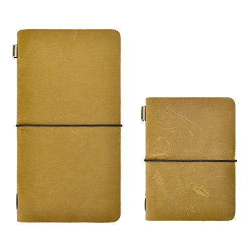 Handmade Refillable Leather Writing Journal Traveler Notebook Travel Diary by ZLYC, Passport Size Standard Size, ()