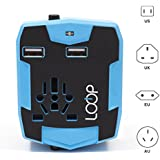 Loop Electronics Worldwide Travel Adapter with Power Bank, International Plug, Dual USB Charging Ports and Universal AC Socket - Blue