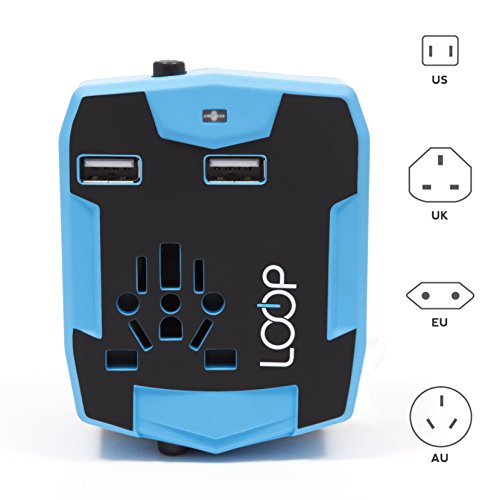 Loop World Travel Adapter  Worldwide  Us Uk Eu Au Cn  Charger With 6000Mah Power Bank  Dual Smart Power Usb Charging Ports   Universal Ac Socket   Safety Fused  Blue