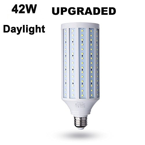 42 Watt(280W Equivalent) LED Corn Bulb,4200 Lumen 6000K,Daylight White LED Street and Area Light,E26/E27 Medium Screw Base,For Outdoor Garage Factory Warehouse Barn Backyard and More,Super Bright