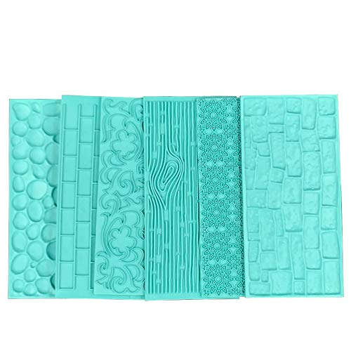 Fondant Impression Mat Set,Gobaker Tree Bark/Brick Wall/Flower/Cobblestone/Stone Wall Texture Design Cake Decorating Supplies for Cupcake Wedding Cake Decoration (Fondant Brick Press)