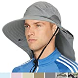 Premium Outdoor Sun Hat for Men, Women | Sun Protection Hat for Hiking, Fishing, Safari | Grey Wide Brim Cap with Neck Flap and Adjustable Chin Cord, UPF 50+ | Foldable, Breathable (Gray)