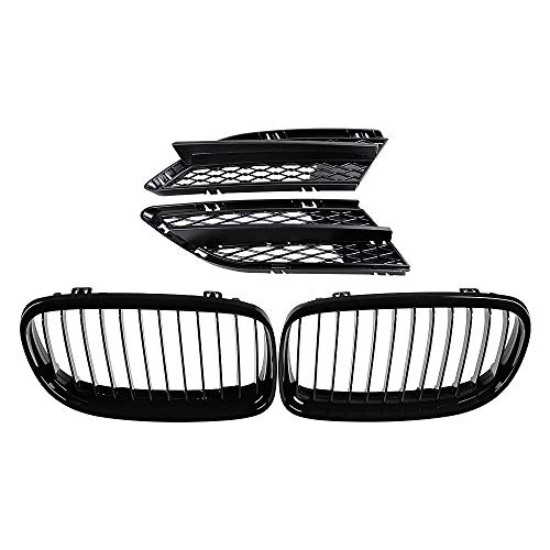 Astra Depot Set Glossy Black Euro Sport Kidney Grilles Grill and Matte Lower Bumper Mesh Grille Compatible with 2009-2011 BMW E90 E91 323i 325i 328i 330i 335i LCI Facelift 4-Door