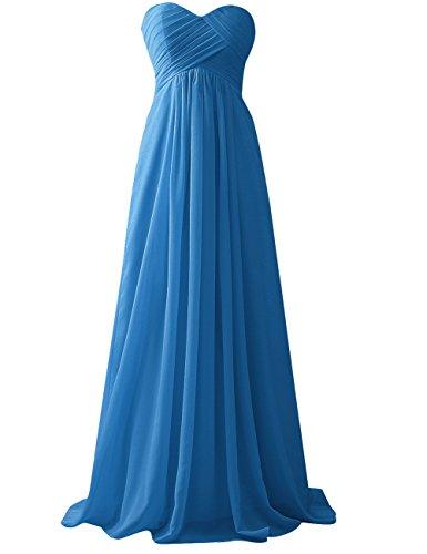 Blu Dell'abito Spalline Di Promenade Senza Abito Del Partito Lunga Jaeden D'onore Damigella Chiffon F84nqp6a