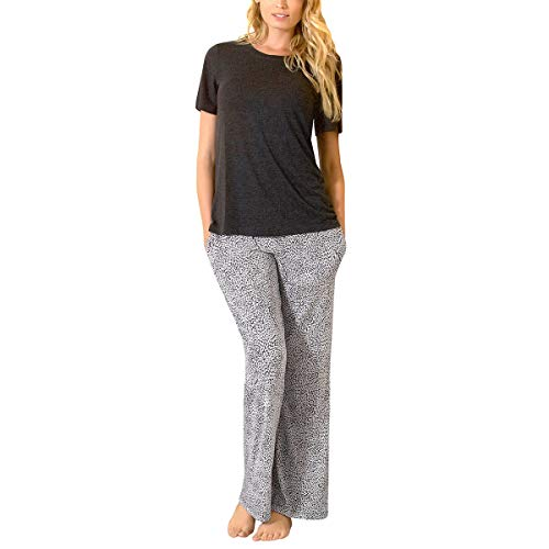 Felina | Lounge Set | Super Soft Knit Jersey Crew Neck Drawstring Pant w/Pockets (Black, Medium)