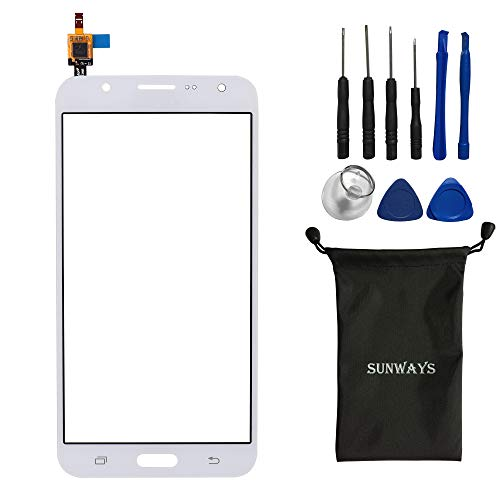 Sunways Glass Lens Screen with Touch Digitizer Replacement for Samsung Galaxy J7 J700(White) with Device Opening Tools