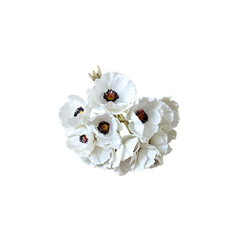 silk flower arrangements 10 stems artificial poppies real touch pu fake latex flowers for wedding holiday bridal bouquet home party decor (white)