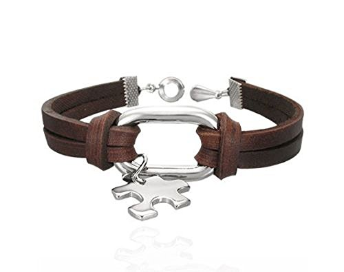 Puzzle Piece Autism Awareness Brown Leather Wristband Clasp Bracelet