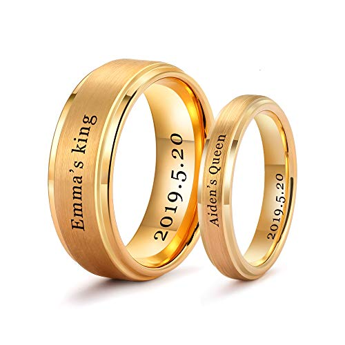 LerchPhi Personalized Gold Wedding Bands Couples Matching Rings Free Custom Engraved Tungsten Carbide Satin Finish Stepped Edge