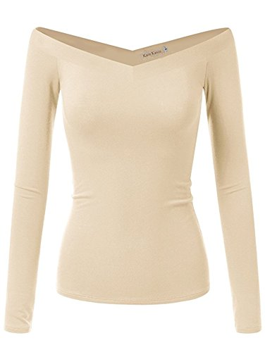 Cream Blouse Top (Women Long Sleeve Off Shoulder Blouse Casual Tight Tops (XL,Cream K1029))
