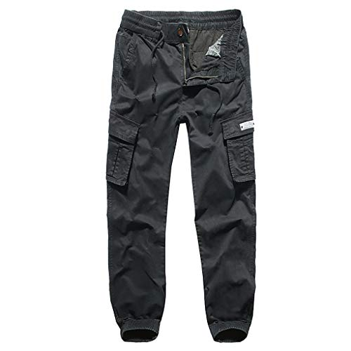 iYYVV Summer Mens Fashion Comfortable Loose Washed Overalls Mens Multi-Pocket Pants Black