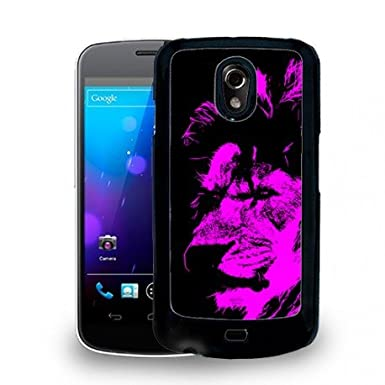 Cover Per Samsung Galaxy Nexus Colore Nero Leone Rosa Fucsia Animali