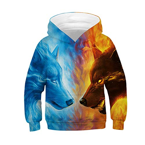 IZOcean Ice Fire Fox Contrast Color Print Cool Movie Style Kids Unisex -