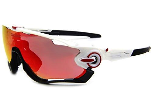 d68ef6f91a1 Queshark TR90 Frame Polarized Cycling Sunglasses For Men Women Sports 3  Lens (White Black