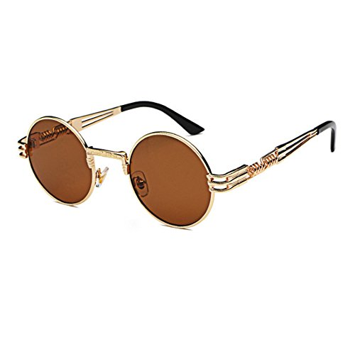 Gafas de de hippy Oro gafas marco retro metal Steampunk de conducción sol redondo Marrón rrdqx0