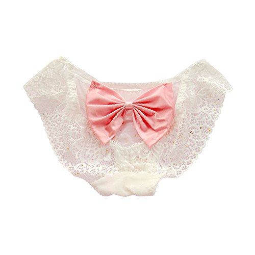 TOMORI Womens Sexy Lingerie Panties Cute Lace Cage Back Panties Big Bowknot Open Crotch Underwear for Sex (#1)