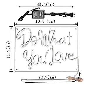 "Do What You Love LED Neon Sign Lights Art Wall Decorative Lights16.5""x11.7 (Do What You Love-Warm White)"