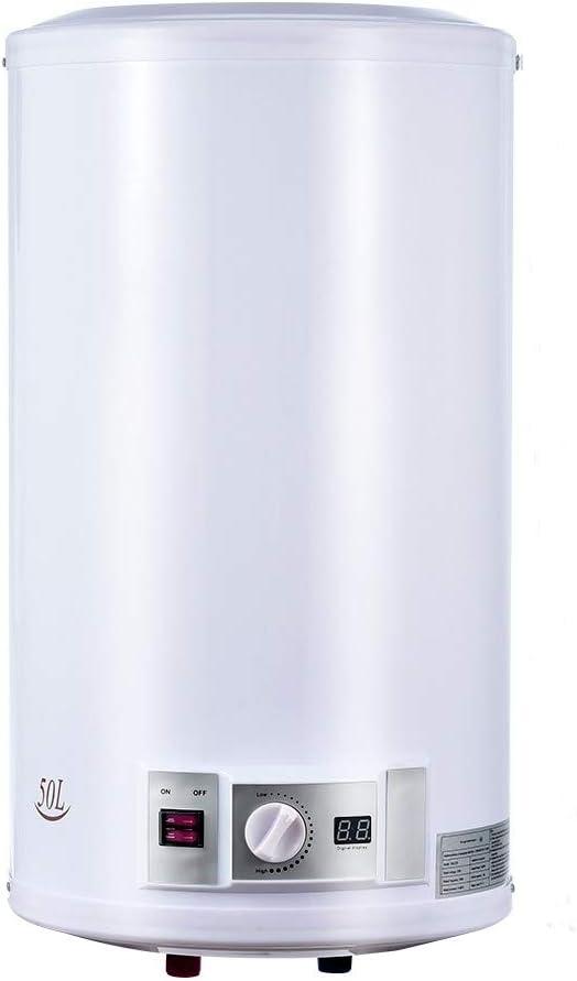 Calentador de Agua Eléctrico 50 L 220 V 2000 W Depósito Cilíndrico para Uso Comercial y Privado, para Interiores y Exteriores, Restaurantes o Salones de Peluquería