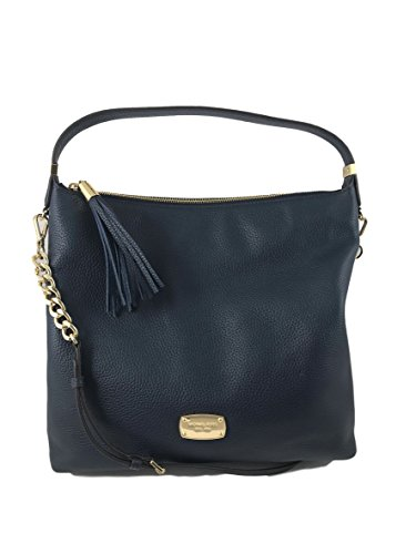 Michael Kors Bedford LG Navy Leather Top Zip Shoulder Bag ()